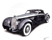 Sports Art Drawings Originals - 1938 Delage D8 120 by Dan Poll