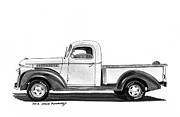 Pen And Ink Framed Prints Drawings Posters - 1946 Chevrolet Pick Up Poster by Jack Pumphrey