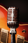Recording Studio Posters - 1950s Classic Guitar And Microphone Poster by Hal Bergman
