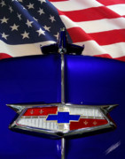 Blue Chevy Photos - 1954 Chevrolet hood emblem by Peter Piatt