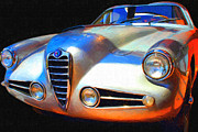 Vintage Hood Ornament Digital Art Metal Prints - 1955 Alfa Romeo 1900 SS Zagato Metal Print by Wingsdomain Art and Photography