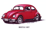 Beetle Drawings Framed Prints - 1957 Volkswagon Beetle Framed Print by Jaturapat Pattanacheewin