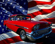 July 4th Posters - 1958 Chevrolet Impala  Poster by Tim McCullough