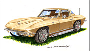 Pen And Ink Framed Prints Paintings - 1964 Corvette by Jack Pumphrey
