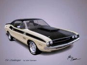Car Prints Digital Art Posters - 1970 CHALLENGER T-A  Dodge muscle car sketch rendering Poster by John Samsen