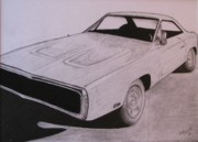 Plum Drawings Framed Prints - 1970 Dodge Charger Framed Print by Gayle Caldwell