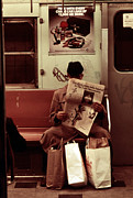 Alienation Prints - 1970s America. Graffiti On A Subway Print by Everett