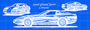 American Muscle Digital Art Prints - 1996 Grand Sport Corvette Blueprint Print by K Scott Teeters