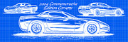 Sports Art Digital Art Posters - 2004 Commemorative Edition Corvette Blueprint Poster by K Scott Teeters