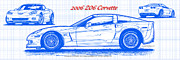 Sports Art Digital Art Posters - 2006 Z06 Corvette Blueprint Series Poster by K Scott Teeters