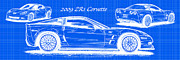 American Muscle Digital Art Prints - 2009 C6 ZR1 Corvette Blueprint Print by K Scott Teeters