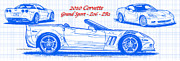 Automotive Art - 2010 Corvette Grand Sport - Z06 - ZR1 Blueprint by K Scott Teeters