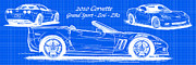 Boys Drawings Posters - 2010 Corvette Grand Sport - Z06 - ZR1 Reverse Blueprint Poster by K Scott Teeters