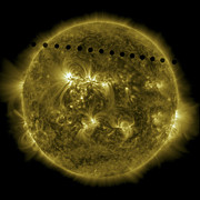 Solar Flares Posters - 2012 Transit Of Venus Moving Poster by Stocktrek Images