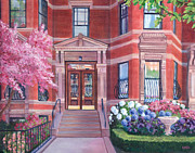 Cherry Blossoms Paintings - 238 Marlborough Street by Laura DeDonato
