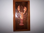 Wall-hanging Sculpture Posters - 3-D lobster Inlay Poster by Clifford Bailey