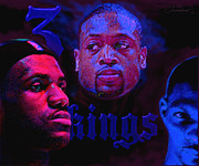 Lebron James Framed Prints - 3 Kings Framed Print by John Travisano