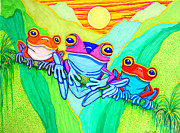 Sunset Drawings - 3 Little Frogs by Nick Gustafson