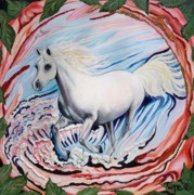 Arabian Horse Mixed Media Posters - 349  Rosewater Poster by Sigrid Tune