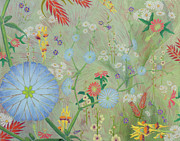 Passionflower Painting Prints - 49 Daisies Print by Nancy Jane Dodge