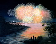 4th July Painting Prints - 4th of July Gloucester Harbor Print by Eileen Patten Oliver