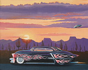 Rat Rod Painting Posters - 52 Olds Poster by Stuart Swartz