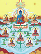 Tibetan Buddhism Paintings - 8 Medicine Buddhas by Carmen Mensink