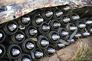 Mortar Posters - 81mm Mortar Rounds Ready Stacked Ready Poster by Andrew Chittock