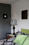 Shower Curtain Metal Prints - A Bedroom In A House. A Double Bed Metal Print by Christian Scully