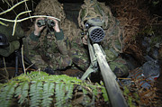 Blending Prints - A British Army Sniper Team Dressed Print by Andrew Chittock