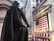Stock Exchange Photos - A Bronze Statue Of George Washington by Justin Guariglia