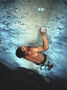 A Caucasian Man Rock Climbing Print by Bobby Model