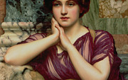 Marbling Framed Prints - A Classical Beauty Framed Print by John William Godward