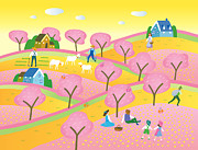 Child Digital Art - A Colorful Image Of A Rural Landscape by Etsuko Aramaki