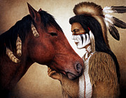 Native American Framed Prints - A Conversation Framed Print by Pat Erickson