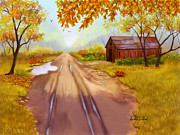 Old Barns Paintings - A Country Road by Sena Wilson