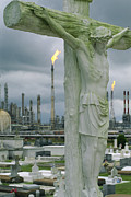 Production Photos - A Crucifixion Statue In A Cemetery by Joel Sartore