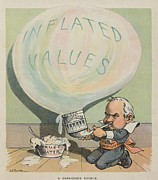 Financiers Posters - A Dangerous Bubble 1902 Cartoon Poster by Everett