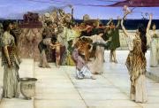 Bacchus Posters - A Dedication to Bacchus Poster by Sir Lawrence Alma-Tadema