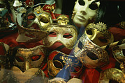 Europe Photo Framed Prints - A Display Of Venetian Masks In A Shop Framed Print by Todd Gipstein