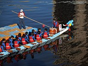 Rowers Photos - A Dragonboat Team at the Starting Line by Yali Shi