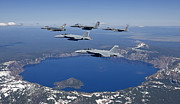 Crater Lake View Prints - A Five Ship Aircraft Formation Flies Print by HIGH-G Productions