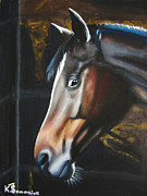 Horse Head Paintings - A Fright at Midnight by Kayleigh Semeniuk