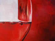 Red Wine Paintings - A Glass of Wine by Lauren Luna