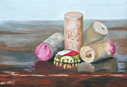 Wine Bottle Paintings - A Good Year on a Good Night by Amy Higgins