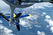 Mechanism Photo Prints - A Kc-135 Stratotanker Refuels An Fa-18 Print by Stocktrek Images