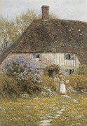 Basket Posters - A Kentish Cottage Poster by Helen Allingham