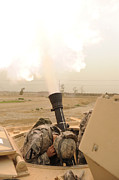 Up-armored Framed Prints - A M120 Mortar System Is Fired Framed Print by Stocktrek Images