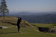 Featured Acrylic Prints - A Man  Golfs In February In British Acrylic Print by Taylor S. Kennedy