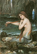 Nudity Acrylic Prints - A Mermaid Acrylic Print by John William Waterhouse